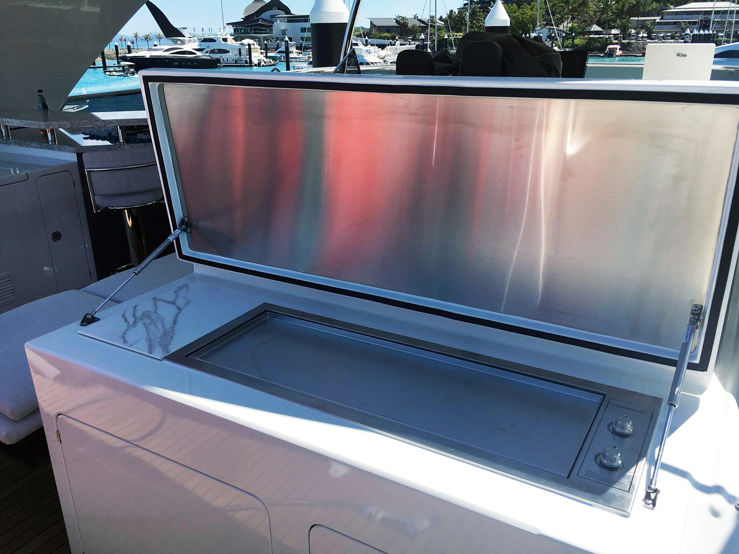 Custom flush mount 110V electric stainless bbq for a boat