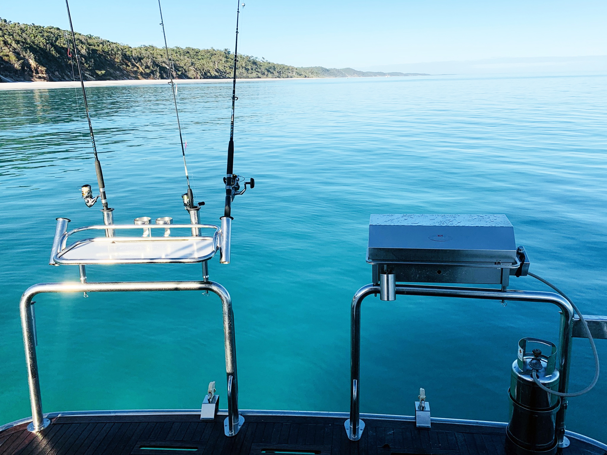 bbq for boats Australia with baitboard